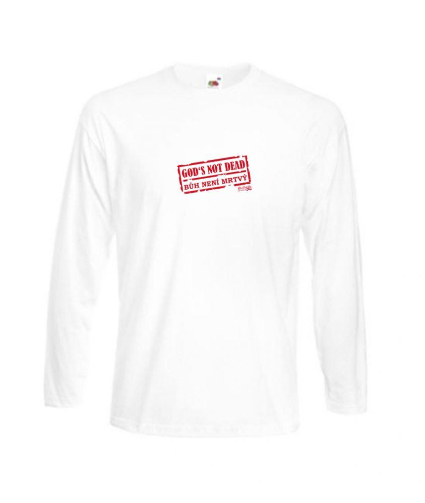 GOD'S NOT DEAD pánské triko s dl. ruk. bílé